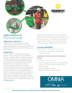 Sunbelt Rentals partners with OMNIA Partners, Public Sector the largest and most experienced cooperative purchasing organization