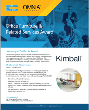 Kimball Office Furniture & Related Services Awarded UC Contract