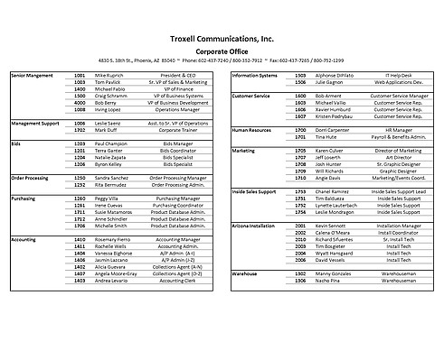 thumbnail of troxell communications contact list