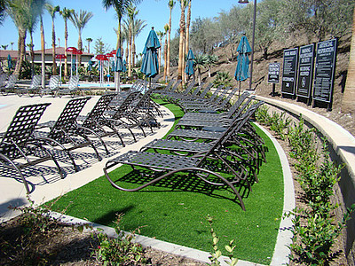 black lounge chairs in a row on turf in tropical setting