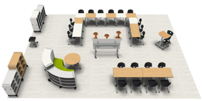 Covid-19 Classroom Socially Distanced 3D Rendering
