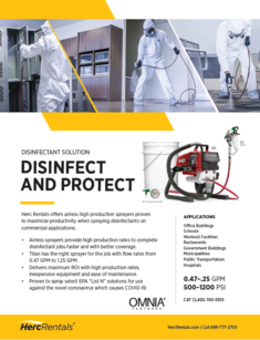 Herc Rentals offers airless high production sprayers to disinfect and protect