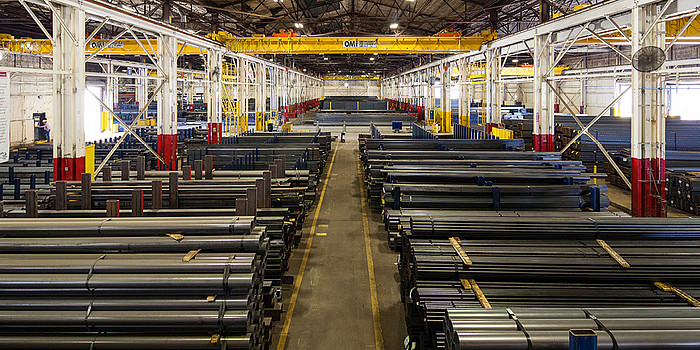 Inside a factory housing large quantities of metals