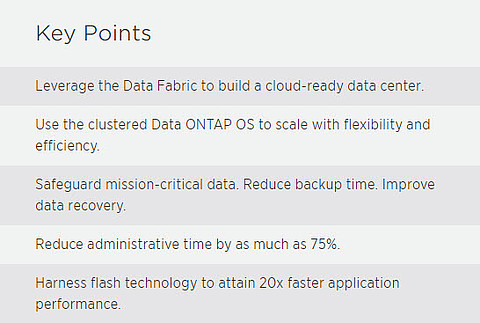NetApp Key Points Data center
