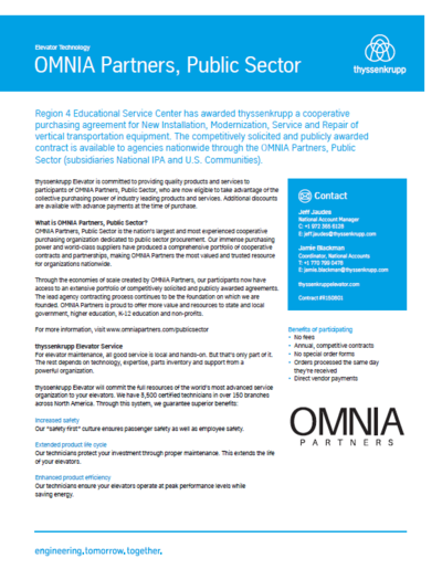OMNIA Partners and Thyssenkrupp Cutsheet