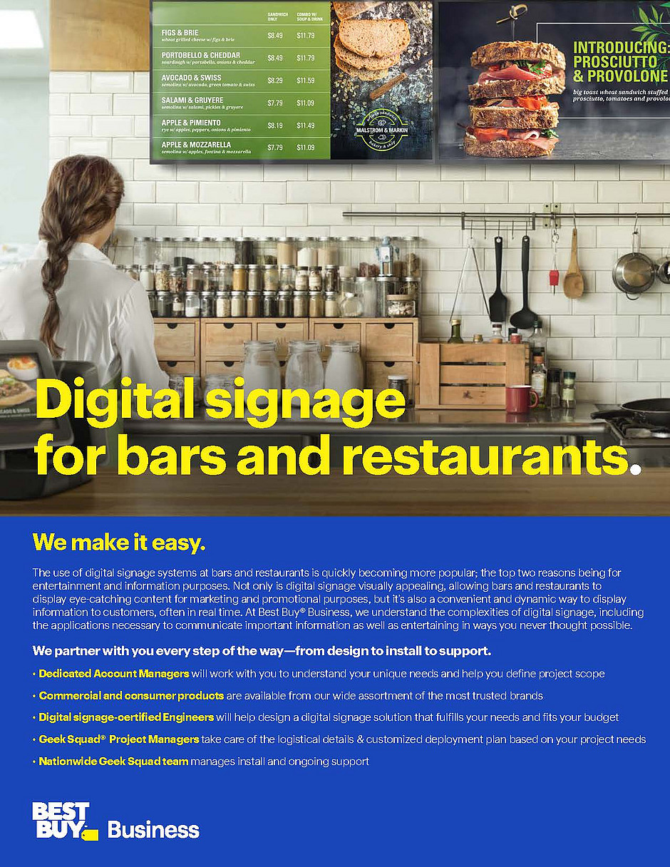 Digital Signage Capabilities Bars and Restaurants