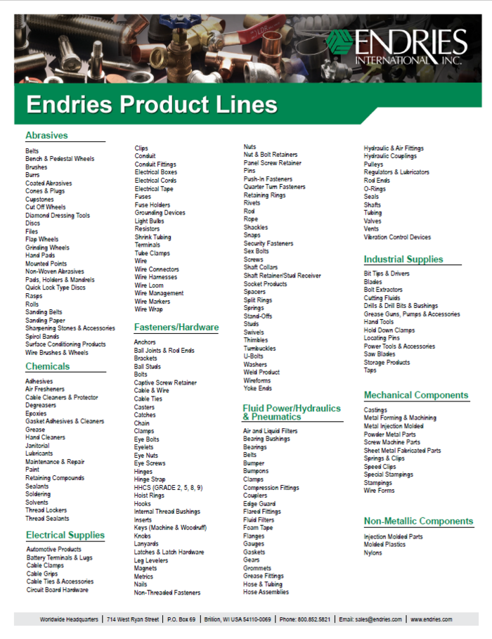 Endries Product Lines