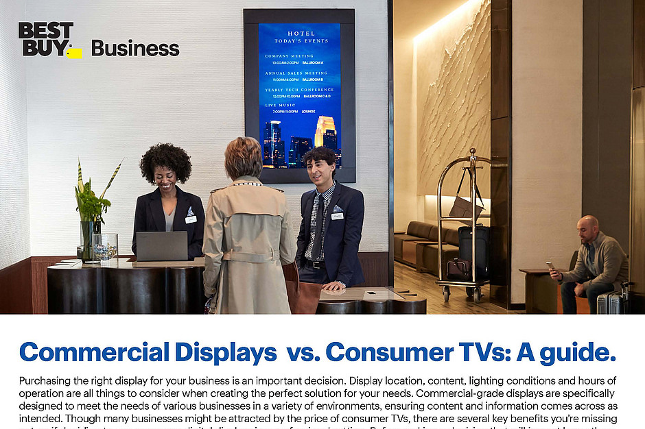 Consumer TV vs Commercial Displays Best Buy Business