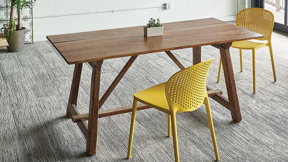 Milliken Wooden Office Desk with Metal Yellow Chairs