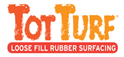 TotTurf Loose Fill Rubber Surfacing Red and Orange logo