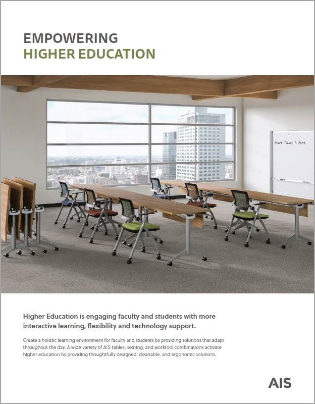A wide variety of AIS tables, seating, and worktool combinations for higher education