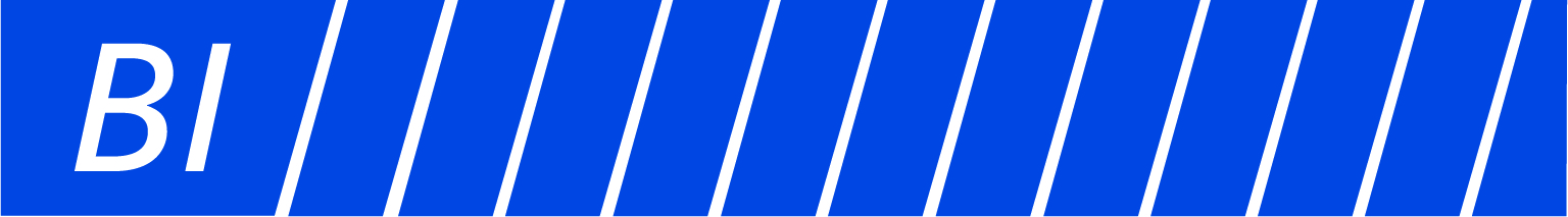 BI Blue and White Stripped Logo
