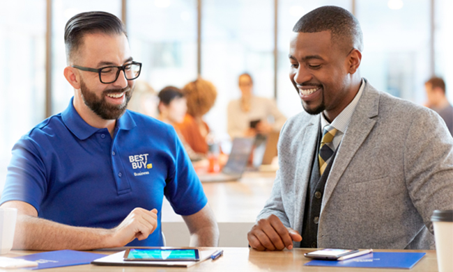 Best Buy Business Employee Helping OMNIA Partners participant