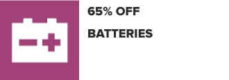 65% Off Batteries