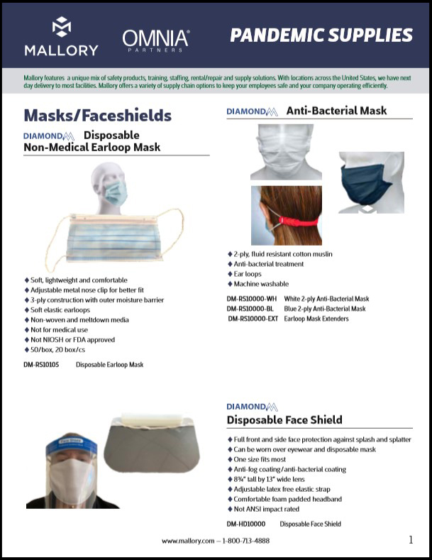 Mallory Pandemic Supplies has a wide variety of facemasks and faceshields