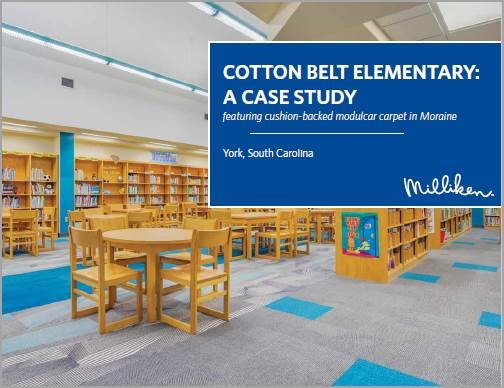 Milliken Case Study with Cotton Belt Elementary Featuring Cushion-Backed Modulcar carpet in Moraine