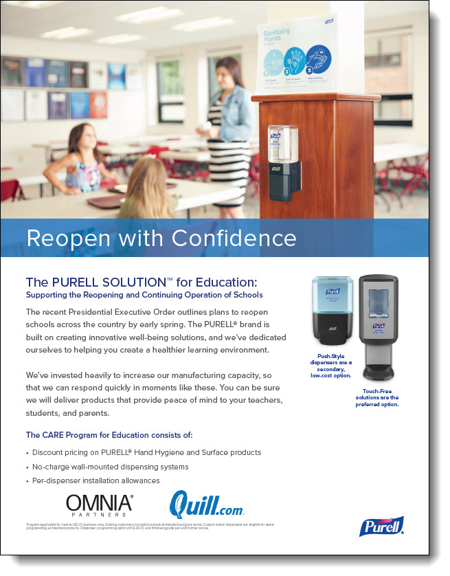 Purell Solution for Education Flyer - OMNIA Partners & Quill