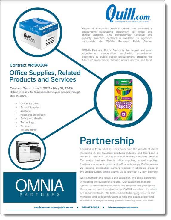 Quill & OMNIA Partners Office Supplies, Related Products and Services