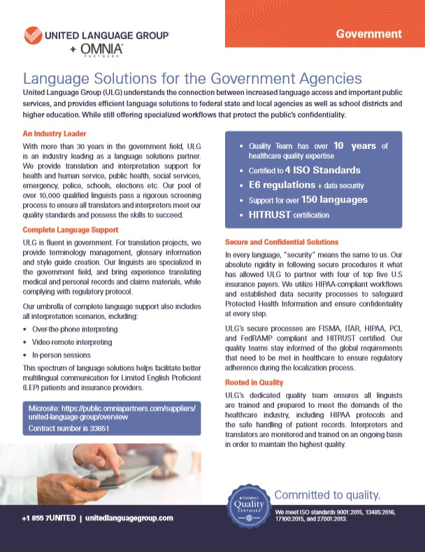 United Language Group and OMNIA Partners bring Language Solution for Government Agencies