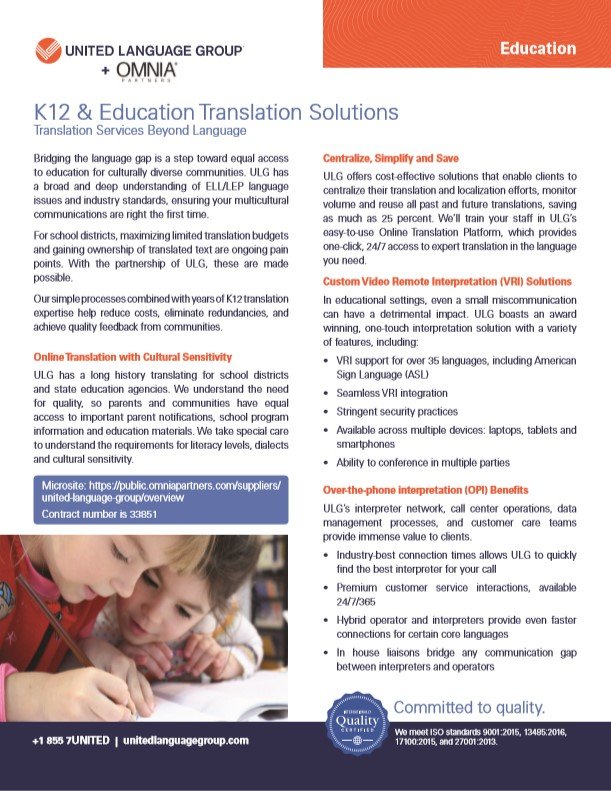 United Language Group and OMNIA Partners bring K12 & Education Translation Solutions Beyond Language