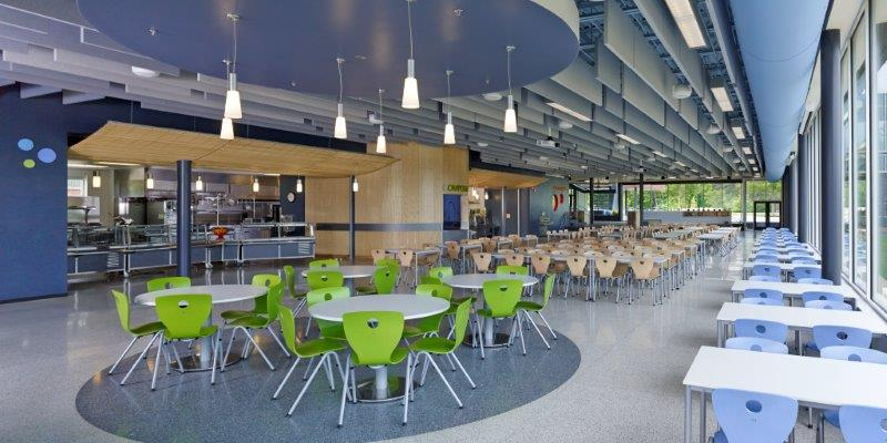 Empty cafeteria with VS America furniture